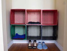 Closet organization with milk crates Rv Storage, Closet Storage, Closet Organization, Milk Crate Furniture, Cabinet Furniture, Lofts For Rent, Plastic Crates, Crate Shelves, Milk Crates