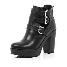 Black leather chunky buckle cut out boots - ankle boots - shoes / boots - women