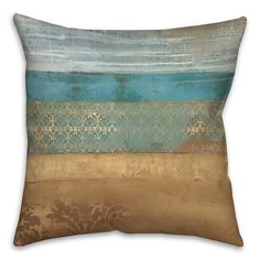 Pattern Bands Square Throw Pillow In Blue - Bring the novel vibrance of this pattern-banded intricate design to your home with this polyester-filled Square Throw Pillow. The comfy pillow features a mixture of designs that add character to your home décor. Shabby Chic Dresser, Blue Bedding, Brown Leather Couch Living Room, Teal Decor, Duck Egg Blue Living Room, Gold Pillows, Brown And Blue Living Room, Pillows, Throw Pillows