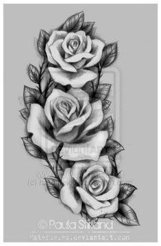 Resultado de imagen para three black and grey roses drawing tattoo Paar Tattoos, Neue Tattoos, Body Art Tattoos, Sleeve Tattoos, Cool Tattoos, Tatoos, Tattoo Arm, Rose Tattoo On Hip, Rose Tattoo Forearm