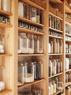 glass containers: this looks cool and easy to see what you're looking for. (Patrick likes jar storage also).