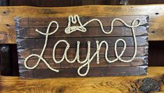 Medium Stained Background vs Brown Wood Grained Background! Two different looks!- LAYNE Rope Name Sign