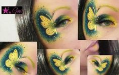 Gina used Sugarpill Buttercupcake and Bulletproof eyeshadows in her intricate butterfly makeup design. How cute and creative! Butterfly Makeup, Butterfly Eyes, Crazy Makeup, Cute Makeup, Makeup Stuff, Kiss Makeup, Beauty Makeup, Beauty Tips, Exotic Makeup