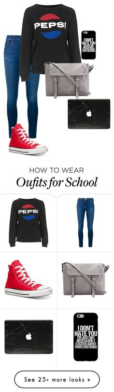 """Middle school"" by freefriendswillwalk on Polyvore featuring Frame Denim, Topshop and Converse"
