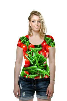 #shirt #t-shirt #veganshirt #greenbeans #tomatoes #stringbeans #beans #cherrytomatoes #vegetables #ladies #fashion #SandyMertens #printallover #OArtTee