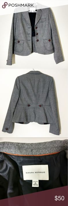 BANANA REPUBLIC GRAY JACKET Lightly used.  Still in like new condition. Size: 4 Approx. Measurements: - Length: 53 cm - Bust: 91 cm - Sleeve: 62 cm Materials: see last photo. Banana Republic Jackets & Coats