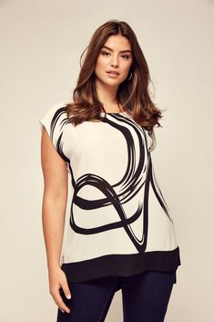 5c9443b3e1f67e Boutique White Squiggle Print Top. Evans