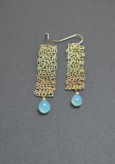 Wire Crochet Lace Earrings w/Chalcedony by JanetLeighJewelry, $120.00
