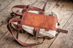 Leather and canvas backpack #072 by Notless Orequal-SR