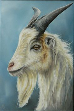 Goat  An original painting in acrylics.  Painted on a box canvas approx 20 x 30…
