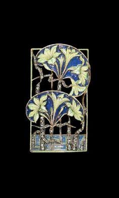 RENÉ LALIQUE | An Art Nouveau gold, diamond and enamel brooch - circa 1900. Probably converted from a dog collar plaque.
