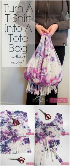 How to turn A T-Shirt Into A Tote Bag || Great Teen craft idea!: