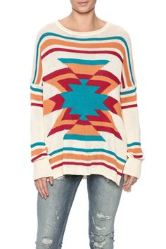 Soft Pullover sweater with two small slits on each side.  Bonfire Sweater by Show Me Your Mumu. Clothing - Sweaters - Crew & Scoop Neck New York City