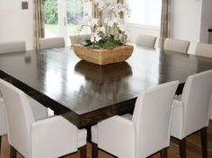 square dining table with side tables to extend the size. brilliant