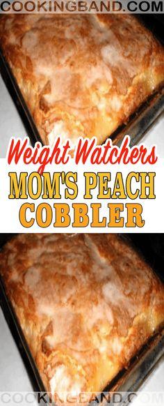 Mom's Peach Cobbler - Daily Recipes Ww Desserts, Weight Watchers Desserts, Healthy Dessert Recipes, Healthy Treats, Healthy Baking, Delicious Desserts, Sugar Free Peach Cobbler, Healthy Peach Cobbler, Ww Recipes