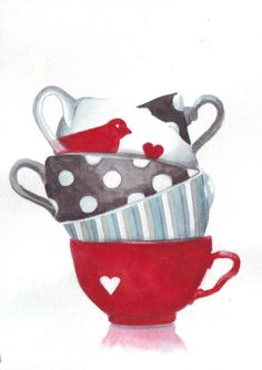 Teacups with bird, heart, polka dots and stripes.
