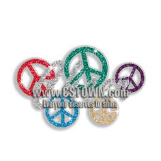 Colorful Cheer with Peace Signs Iron-on Glitter Rhinestone Transfers