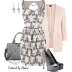 """Gray & Pink"" by dlp22 on Polyvore"