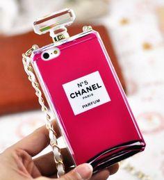 IPhone 4 &4S&5&5S Chanel 2014 Neue N°5 Parfüm Flasche Case Hülle Mit Golden Kette-Rosa