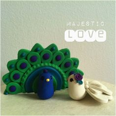 READY to SHIP Peacock Wedding Cake Topper by derekwoolever on Etsy, $100.00