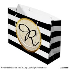"""Modern Faux Gold Foil Black White Stripe Monogram Large Gift Bag Fresh, elegant, and gracefully modern! Designed for a bold visual impact with luxurious style. Please note that the faux gold foil is a printed visual effect only and does not represent real foil texture on the finished product. For most realistic shine, printing with glossy finish is recommended. Easy customization! Simply replace the template text with your own details. Click the """"Customize It"""" button to add text or move and…"""