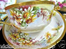 The are the most amazingly painted daisies I have ever seen!  LIMOGES FRANCE DAISY HAND PAINTED  TEA CUP AND SAUCER DUO.