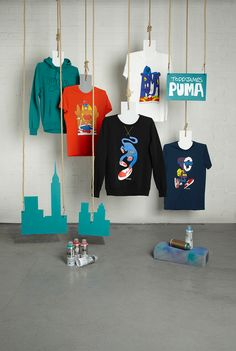 Artful Sportswear Collaborations : PUMA x Todd James Fall/Winter 2013 Fashion Displays, Clothing Displays, Merchandising Displays, Store Displays, Zero Waste Shop, Clothing Store Design, Fashion Showroom, Fashion Kids, Fashion Art