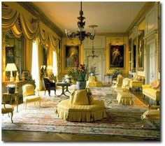 The Yellow Drawing Room at Goodwood House done in Regency scheme inspired by French taste (Boulle clocks and cabriole chairs). The room was designed to take the full-length royal portraits saved from the fire at Richmond House in Chateau Hotel, Regency Furniture, Luxury Furniture, Georgian Interiors, Interior And Exterior, Interior Design, Country Interior, Regency Era, Classic Interior