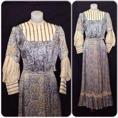 Antique 1800s 1890s Victorian Blue Floral Silk Lace Cotton Dress Set Size XS | eBay