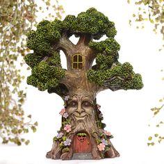Fairy Garden Solar Powered Wisdom Tree Fairy House