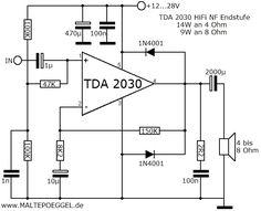 circuit diagram for subwoofer amplifier using ic tda2030 rh pinterest com