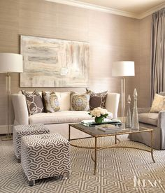 A Bunker Hill Village Residence With a Muted Color Palette. Love the textures and the carpet. Monochromatic design.