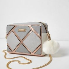 River Island Womens Grey metallic cutabout boxy crossbody bag