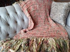 Warm colors of sun, earth and flowers for summer! Throw blanket by designer for Stevie Nicks, Crickets Meyeres. Includes salmon, coral, peach, gold, mustard, yellow, khaki, olive, sage green.