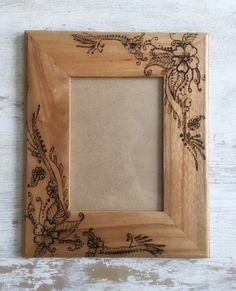 Wood burned flower frame by TheSimpleHomeLife on Etsy