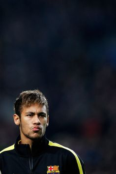 Neymar of Barcelona looks on prior to the UEFA Champions League Group H match between Ajax Amsterdam and FC Barcelona at Amsterdam Arena on November 26, 2013 in Amsterdam, Netherlands.