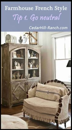 French White Living Room - Cedar Hill Farmhouse. Refinish the green cupboard like this and I'll love it again!