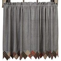 """These Beacon Hill Sawtooth Lined Tier Curtains 36"""" are so sweet the the coordinating fabrics and unique border. Add valances, swag, or prairie curtains to the tiers for a more complete look. https://www.primitivestarquiltshop.com/products/beacon-hill-sawtooth-lined-tier-curtains-36 #countrystylecurtains"""
