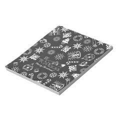 Merry Christmas Santa Symbols, Black and White memopad