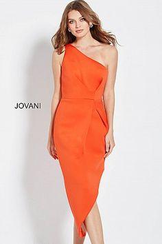 Orange One Shoulder Asymmetrical Hem Casual Dress M606  Jovani  Fall2018   shortdress  jumpsuit eb90e3250