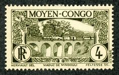 """Middle Congo 1933 Scott 67 olive green """"Viaduct at Mindouli"""" Equatorial Africa, Congo River, Rare Stamps, French Colonial, Interesting Buildings, France, Stamp Collecting, Science And Nature, Postage Stamps"""