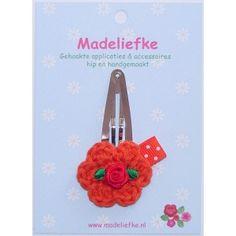 Haarknipje bloem-roosje-stip donkeroranje - Madeliefke