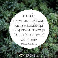 Teraz je tá najlepšia a najvhodnejšia chvíľa na zmena. Teraz je čas stať sa svetlom a soľou. Dnešný citát pápeža Františka sme vybrali z drobnej, no veľmi silnej knižočky Myšlienky o milosrdenstve👉  https://goo.gl/V1Jh4L👈 , ktorú nájdete na www.zachej.sk #citátyzachej #dnescitam #knihyzachej #zachejsk #citamkrestanskeknihy #cocitať