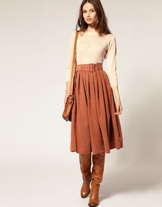 Belted Midi Skirt with Brown Boots & Cream Top