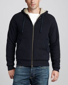 Sherpa-Lined Slub Hoodie by Vince at Neiman Marcus.