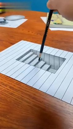 3d Art Drawing, Art Drawings Sketches Simple, Pencil Art Drawings, Easy Drawings, Realistic Drawings, Geometric Drawing, Stairs 3d Drawing, 3d Pencil Art, Easy 3d Drawing