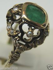Victorian Colombian Emerald Diamond Pearl Enamel 14K Engagement Solitaire Ring