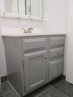 Gray cabinet Home Depot - RustOleum Transformations 1 qt Gray Cabinet Small Kit Rustoleum Cabinet Transformation Colors, Cabinet Transformations, Used Cabinets, Grey Kitchen Cabinets, Cupboards, Painting Bathroom Cabinets, Oak Bathroom, Restroom Cabinets, Cheap Dorm Decor