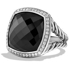 David Yurman Custom Albion Ring (5.710 BRL) ❤ liked on Polyvore featuring jewelry, rings, anillos, black onyx, square ring, david yurman rings, david yurman, 18k jewelry and 18k ring