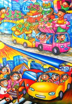 'Car Stopping Global Warming' by Gabriela Gianova, Aged Under 10 y.o., Indonesia: 3rd Contest, Silver #KidsArt #ToyotaDreamCar